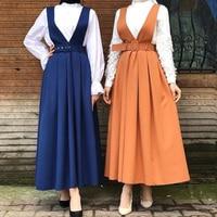 Two Shoulder Strap Skirts Women Casual High Waist Blue Long Maxi Pleated Skirt Summer Islamic Clothing Muslim Suspender Skirt
