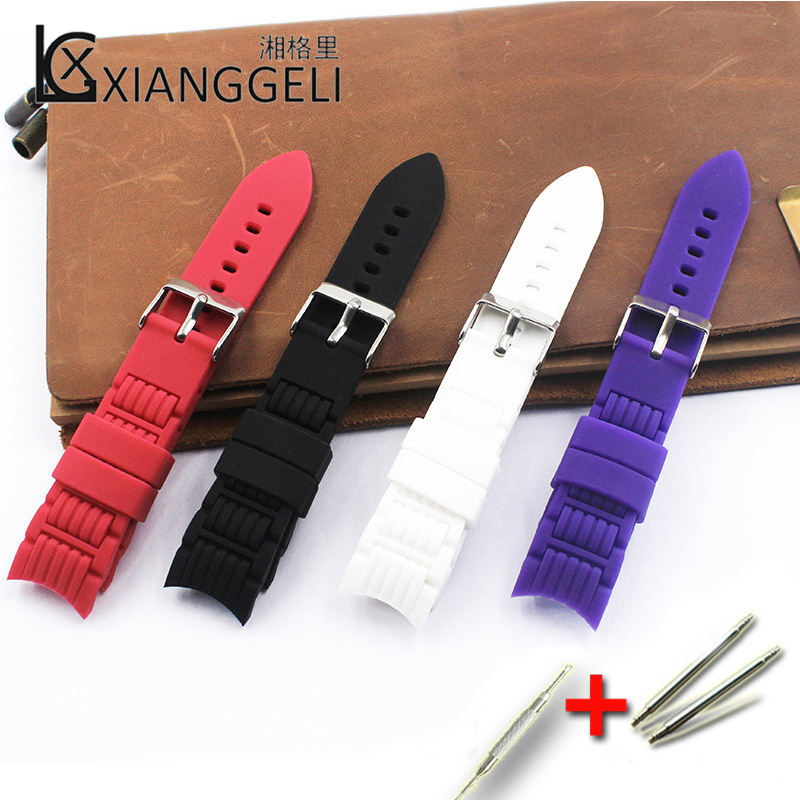 Watch Accessories 20mm Silicone Strap Curved Interface Pin Buckle For Men And Women Kids Leisure Sports And Brand Watch Bands