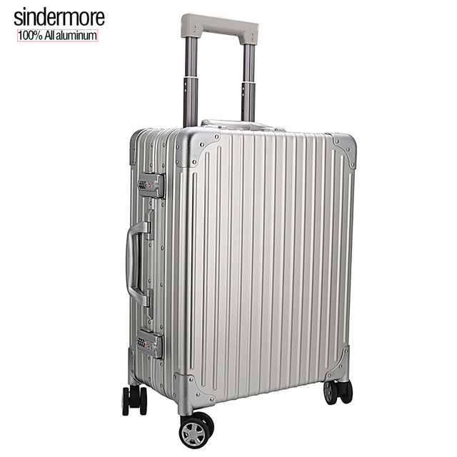 Sindermore 100%  aluminum alloy travel suitcase Business high-end travel Carry-Ons metal luggage cabin suitcase Roller suitcase
