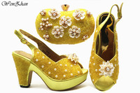 WENZHAN Thick Heel Shoes With Matching Bag,Nigerian Shoes and Bag Set with Appliques beaded for Parties Yellow Color E812 6