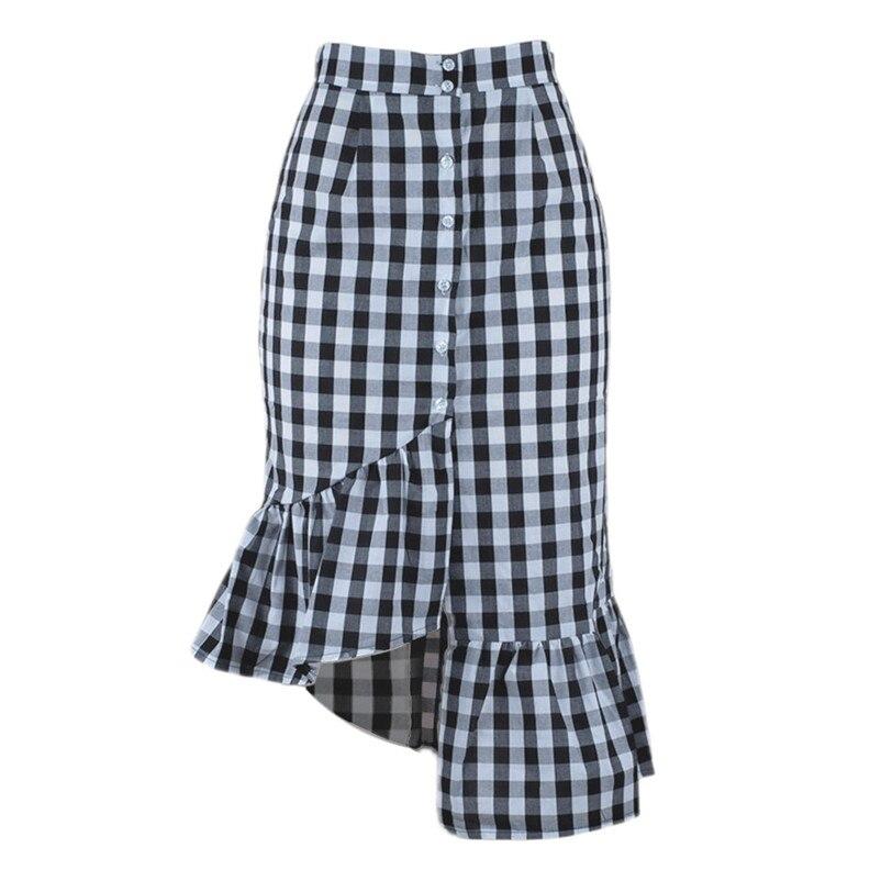 New Fashion 2018 Summer style skirts womens Plaid Casual Ruffled Button Party Slit High Waist Mid-Calf Skirt Femme Saia Y18#N (12)