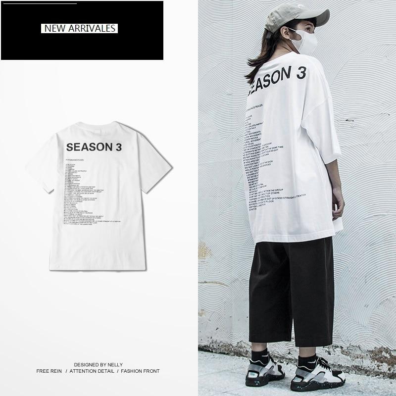 New summer streetwear trend t shirt women loose wild tshirt Harajuku half-sleeve round neck back printing couple T-shirt WNVTX17