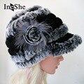 IneShe Mujeres Sombreros Tapas Que Hacen Punto Genuino de la Piel de Piel de Conejo Rex ruso Sombrero Stripe Natural Fur Hats Mujer Invierno Gorros Calientes M3002