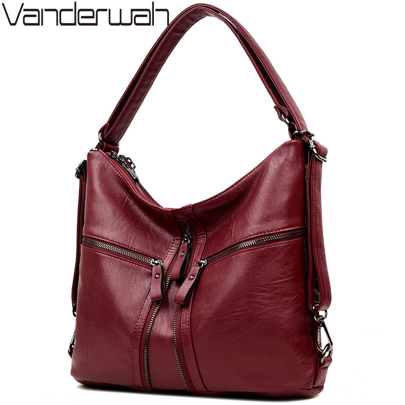 3-in-1 Multifunction Back Pack Leather Women Bag Female Shoulder Bags 2018 Designer Handbags High Quality Brands Big Tote Bag