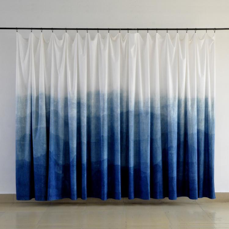 Custom Oosterse stijl zijden gordijnen handgemaakte blauw dye art ...