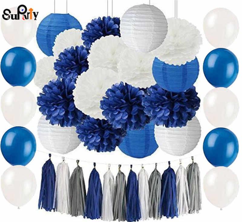 1 Set Navy Blue Putih Jaringan Pom Pom Kertas Bunga Kertas Gantung