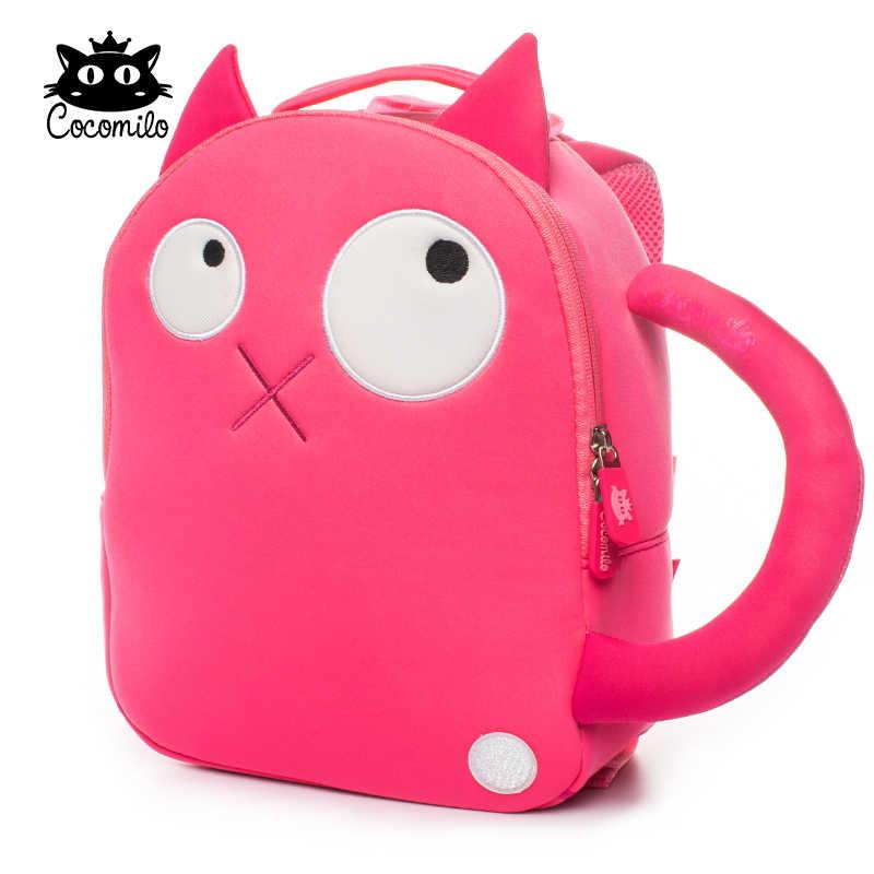 Cocomilo детский школьный рюкзак для девочек милый розовый Кот Печать анти потеря