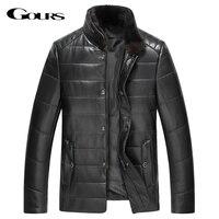 Gours зима натуральная кожа пуховик для Для мужчин модный бренд черный овчины куртки и пальто с норки меховой воротник новый 4XL