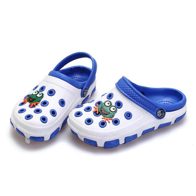 68f258863be0 ... summer little boys girls mules and clogs garden shoes hollow children  slipper cartoon frog PU shower ...