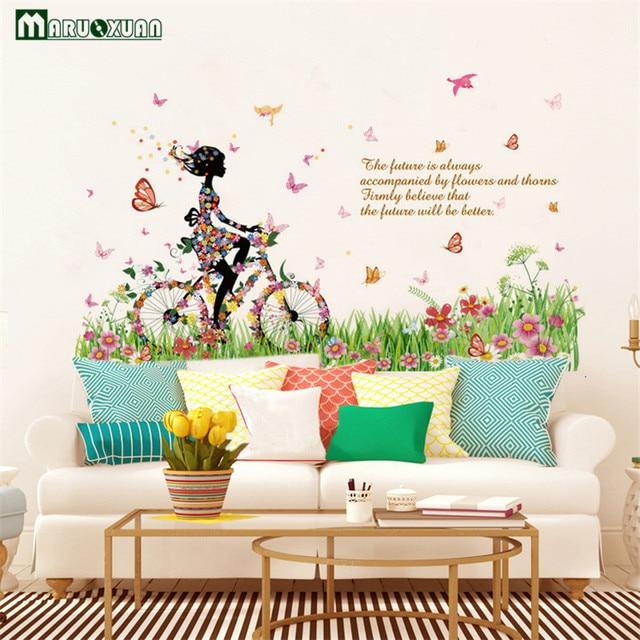 YunXi Kleurrijke Vlinder Fietsen Meisje Plant Stickers Woonkamer ...