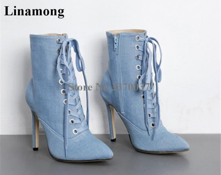 Hot Selling Women Casual Pointed Toe Lace-up Blue Denim Ankle Boots Thin Heel Boots Blue Short High Heel Boots Street Shoes цена