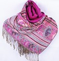Fashion Dark pink Women's Silk Pashmina Shawl Scarf Wrap honeybee flower Free Shipping Wholesale Retail FF-XMF2