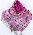 Fashion Dark pink Women's Silk Pashmina Shawl Scarf Wrap honeybee flower Free Shipping Wholesale Retail FF-XMF2