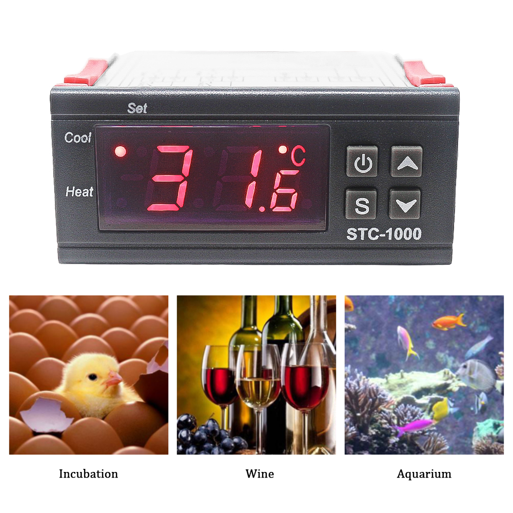 STC-1000 LCD Digital Thermostat Temperature Controller for Incubator Two Relay Output Thermoregulator with Heater And Cooler micro intelligent thermostatic switch digital thermostat ac220v temperature controller for heater or cooler max power2200w w2101