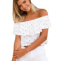 White Navy Blue T Shirt Women Slash Neck Short Sleeve Chiffon Tops 2017 Fashion Polka Dot