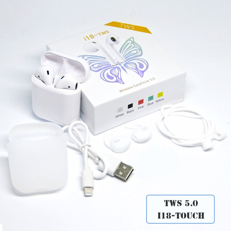Original <font><b>i18</b></font> <font><b>Tws</b></font> 5.0 Bluetooth <font><b>Earphones</b></font> Touch Control Wireless Headset Earpieces 1:1 Mini Earbuds For iPhone Xiaomi Pk i10 i20 image
