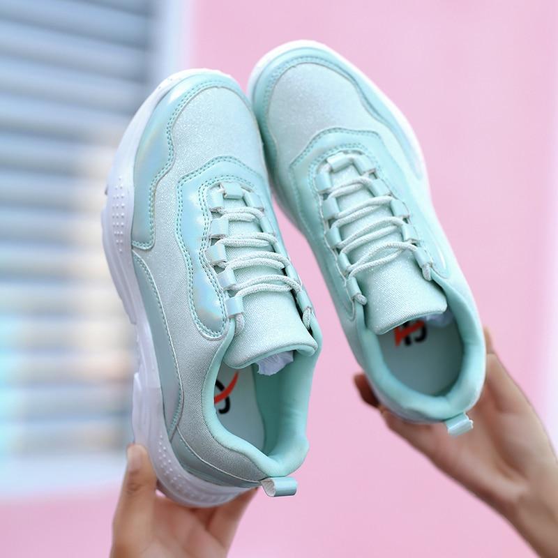 Pour Chaussures white green forme Plate Femmes Mode Respirant Pink purple Panier Sneakers Femme Décontractées Dames Tenis Des Printemps Automne Feminino xwH4UB
