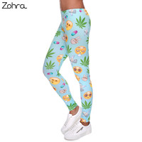 Zohra 2016 New Fashion Emoji Weed Printed Women S Fitness Slim Fit Legging Stretchy Trousers Casual