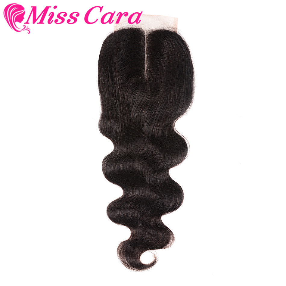 Miss Cara Brazilian Body Wave Lace Closure Middle Part 4x4 Remy Human Hair Natural Black Can Mix With Bundles Free Shipping