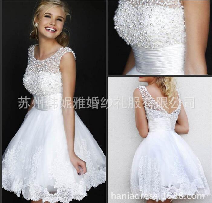 White Lace Pearl Bridesmaid Dress Sweet Princess Bride banquet Ball ...