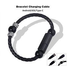 USB Charging Bracelet Charger Smart Jewelry Bead Wristband Fast Data Cable for IPhone UBU C Micro Android Phone Car