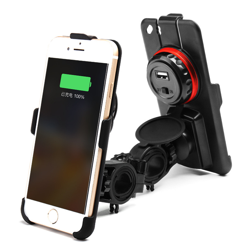 Motorcycle Handlebar <font><b>Scooter</b></font> Mirror Real View <font><b>Phone</b></font> Mount <font><b>Holder</b></font> Stand Charger 2.4A USB Charger and Compass for iPhone 6/6S/7