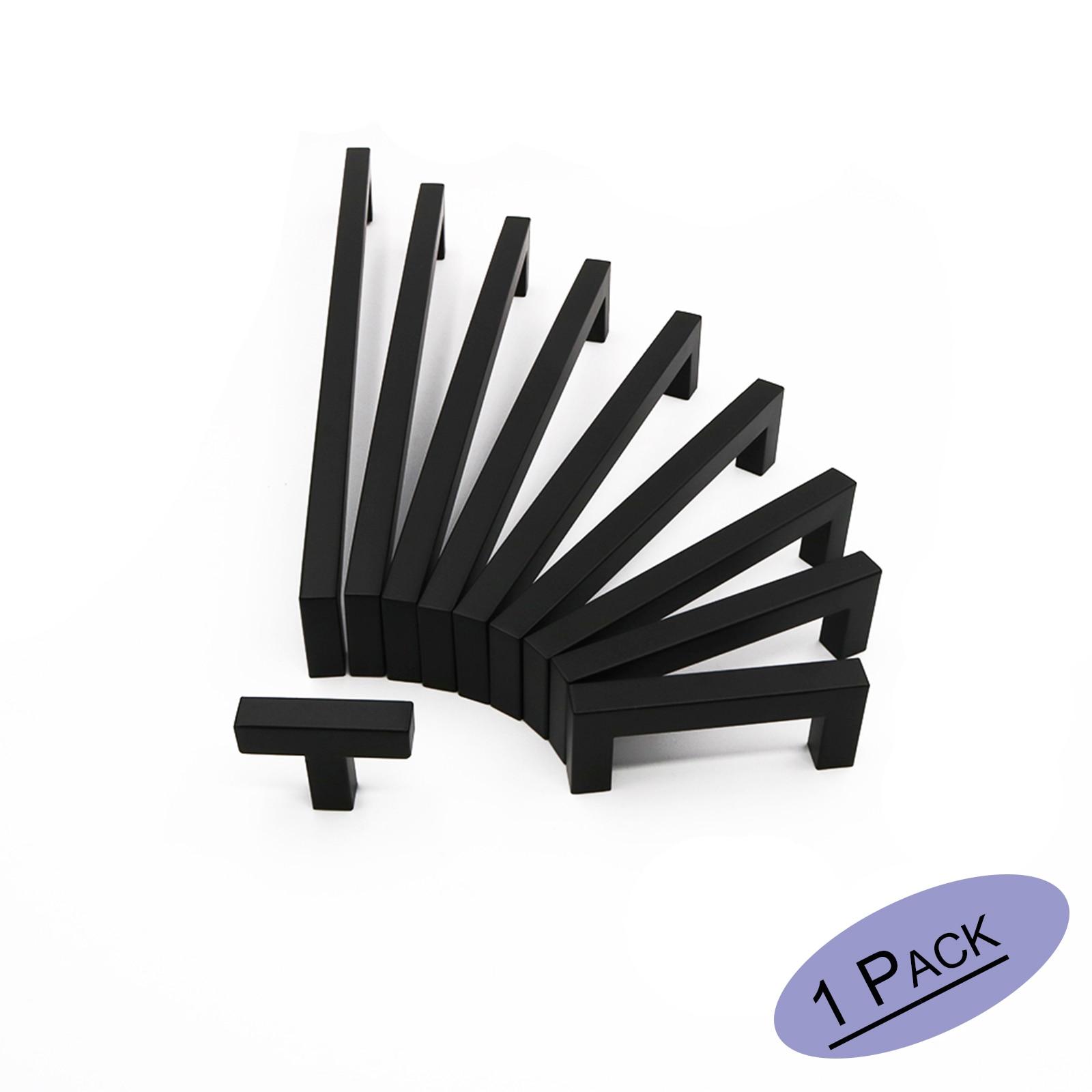 Black Cabinet Handle Stainless Steel Hi12mm*12mm Square Bar Cupboard Pull Kitchen CLoset Drawer Door Knob 3.75