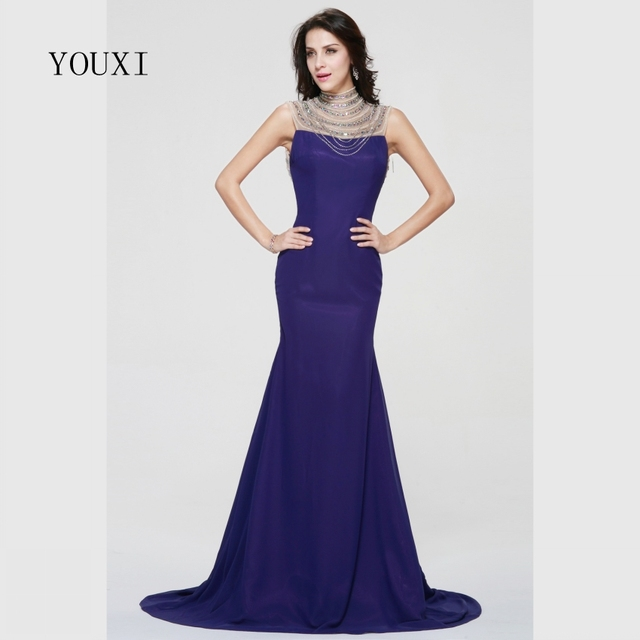 Sexy Sheer High Neck Long Evening Dresses 2017 New Satin Beaded Crystal Pearls Mermaid Formal Prom Gowns FED30