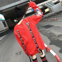 Oversized Harajuku Letter Print Ribbons Hoodies Women Extra Long Sleeves Loose Sweatshirt And Pullovers Korean Bts Kpop Clothes