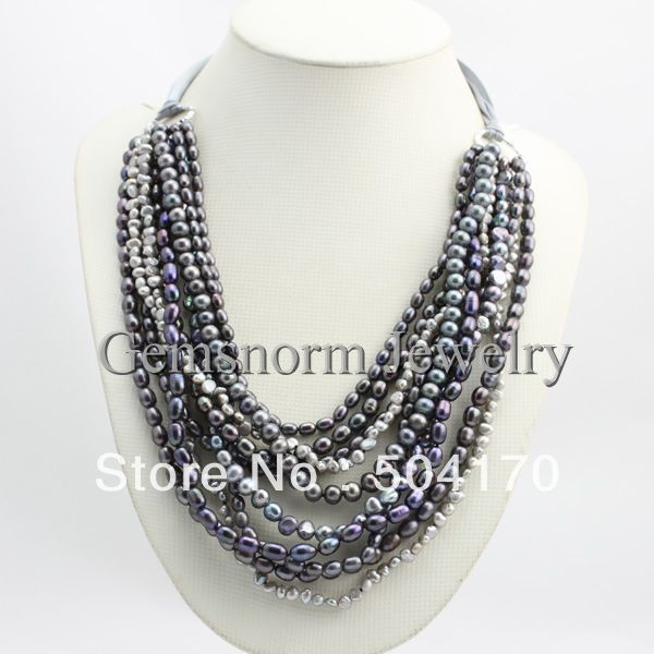 Holiday Party,Bridesmaid Gifts Freshwater Pearls Beaded Jewelry Multistrand Gray Pearl Jewelry FP317 pearls beaded detail knit tee