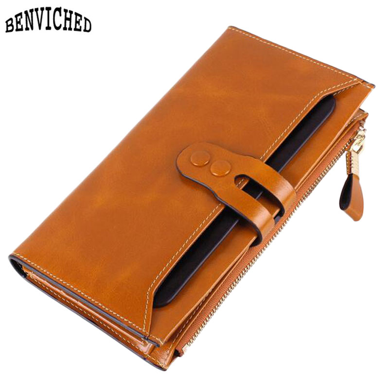 ФОТО Hot Sale Women Wallets Genuine Leather High Quality Long Design Clutch New 2017 Fashion Cowhide Wallet 7 Colors Female Purse