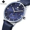 Marca de lujo de Los Hombres de Cuero Genuino Correa Relojes Deportivos Hombres del Cuarzo Hora Fecha Reloj Hombre Moda Casual Reloj de Pulsera Azul relogio