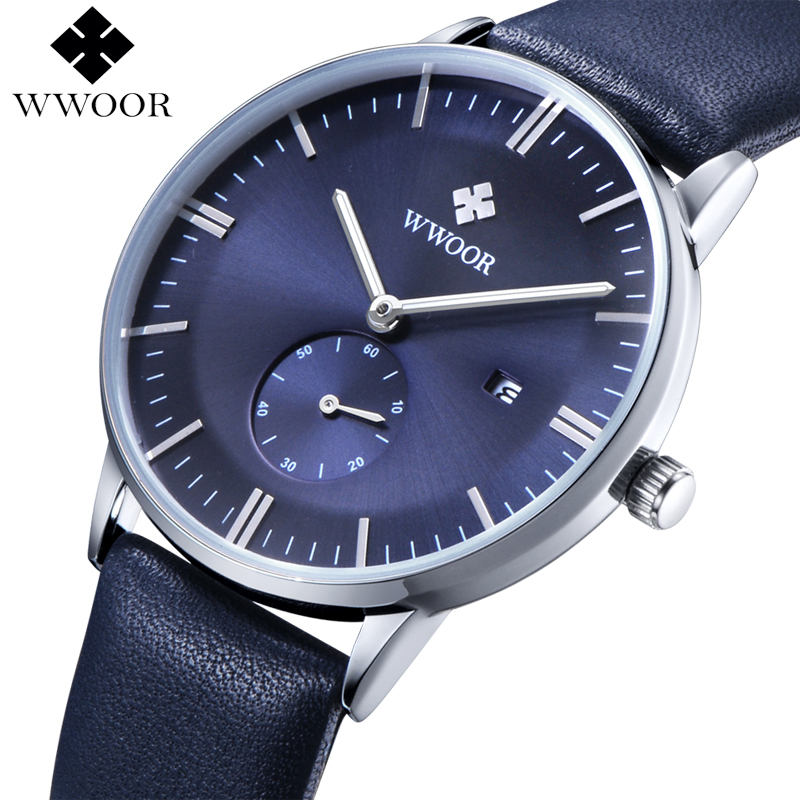 все цены на WWOOR Brand Luxury Men Leather Strap Sports Watches Men Quartz Hour Date Clock Male Fashion Casual Wrist Watch relogio masculino