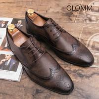 Bullock Mens Shoes British European Version Leather Pointed Retro Men Dress Shoes Leather Zapatos De Hombre