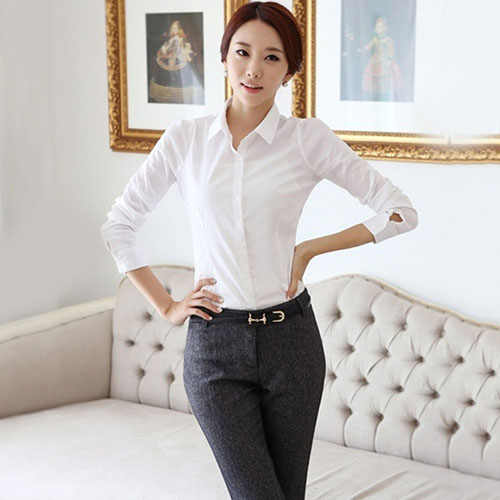 المرأة أزياء مكتب سيدة OL قميص العمل الأعمال التمريض الوظيفي أعلى الأبيض الصلبة بلوزة blusa موهير camicetta