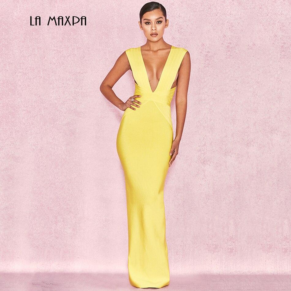 2018 Chic Elegant Female Bandage Dress Sexy Yellow Sleeveless V-neck Long Dress Vestidos Celebrity Party Dress Ladies Dress