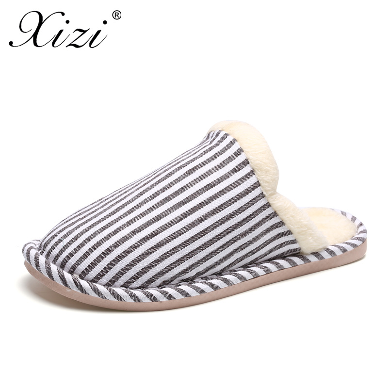 XIZI Brand Winter Warm Women Soft Stripe Plush Indoor Slippers Fur Lined Bathroom Home Shoes Suede House Shoes for Woman shoes plush winter slippers indoor animal emoji furry house home with fur flip flops women fluffy rihanna slides fenty shoes