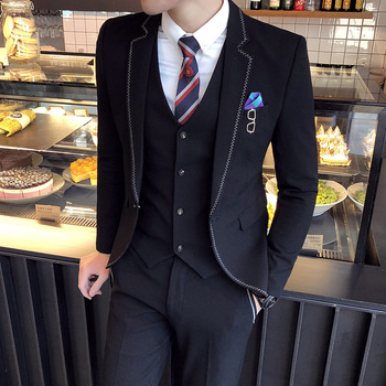 2019 New Arrivals Men Suits Colour Khaki Dark Grey Black Classic Design Slim Fit Men's Suit Jacket and Vest and Pants Size S-3XL