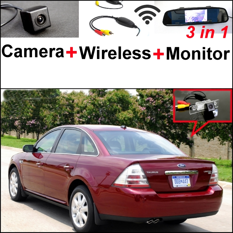 3 in1 Special Camera + Wireless Receiver + Mirror Monitor  EASY DIY Backup Parking System For Ford Taurus 2008~2014 wireless pager system 433 92mhz wireless restaurant table buzzer with monitor and watch receiver 3 display 42 call button