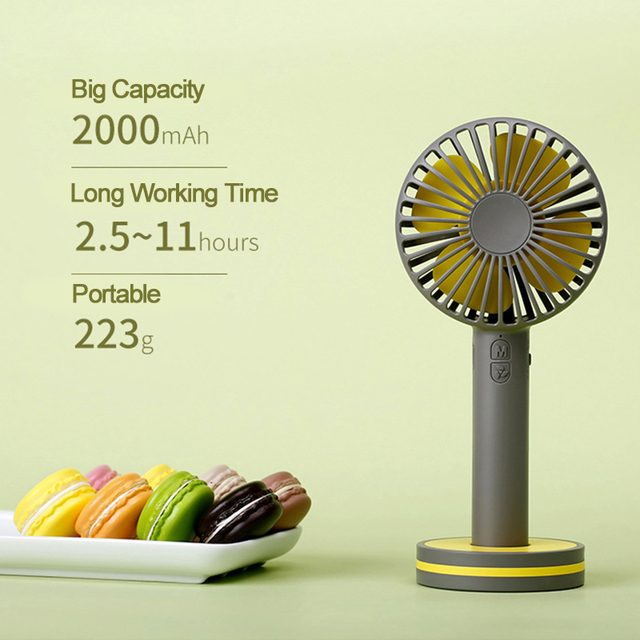 2000mAh Portable Hand Fan For Travelling Outdoor Office Creative Macaron Powerful Rechargeable Cooling Fan with Cosmetic Mirror