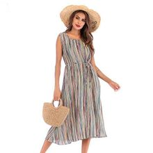 Summer 2019 New European and American Foreign Trade Explosion Round-necked Sleeveless Strip Printing Lace Dresses