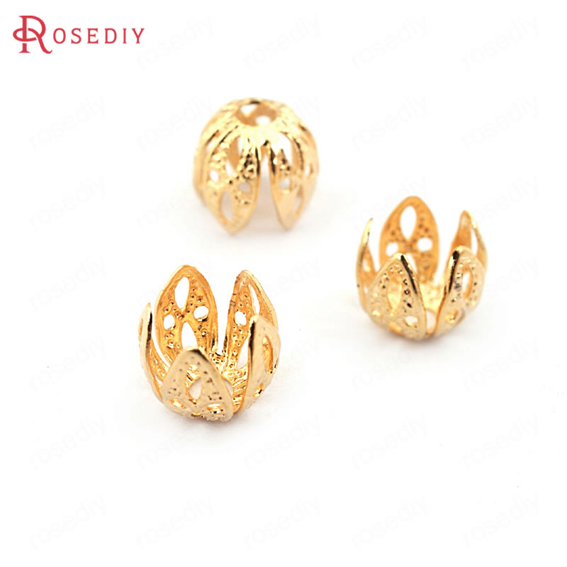 (33610)20PCS 7*7.5MM 24K Gold Color Brass Beads Caps High Quality Diy Jewelry Findings Accessories Wholesale