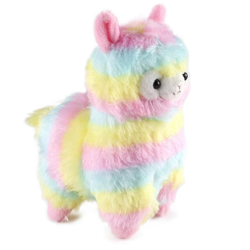 13CM Kawaii Rainbow Alpaca Plush Pendant Doll Stuffed Soft Colorful Alpaca Toy Cute Keychain Gift for Baby Children Ladies Bag