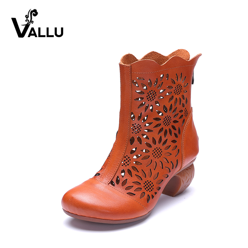 VALLU Hollow Out Genuine Leather Women Boots Block Heels Back Zip Round Toes Handmade Ladies Ankle Boots Summer Sandals breasted hollow out zip up teddy