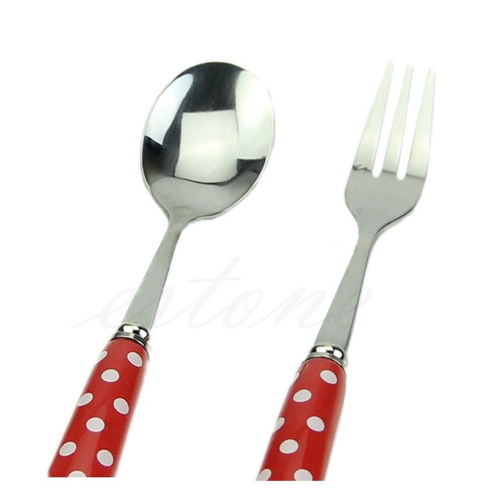 Hot Tableware Ceramic Stainless Steel Fork Soup Spoon Set Children Toddler Use