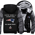 USA size Super Bowl Li Champion! Patriots Foot ball Team Men Women Thicken Fleece Zipper Hoodie Jacket Clothing Casual Coat