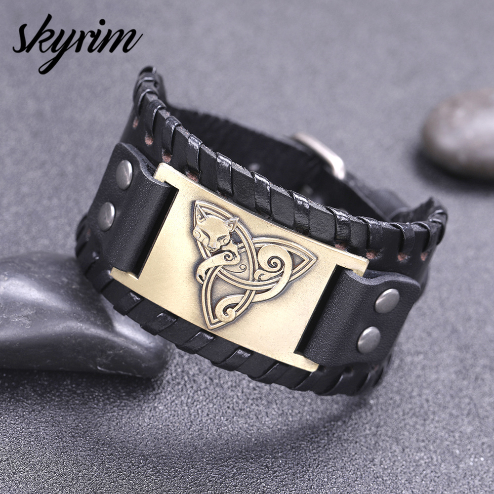 Skyrim Trinity Knot and Fox Charm Wide Leather Bracelet for Men Triquetra Wolf Viking Norse  Bracelets Cuff Bangle Punk Style Браслет