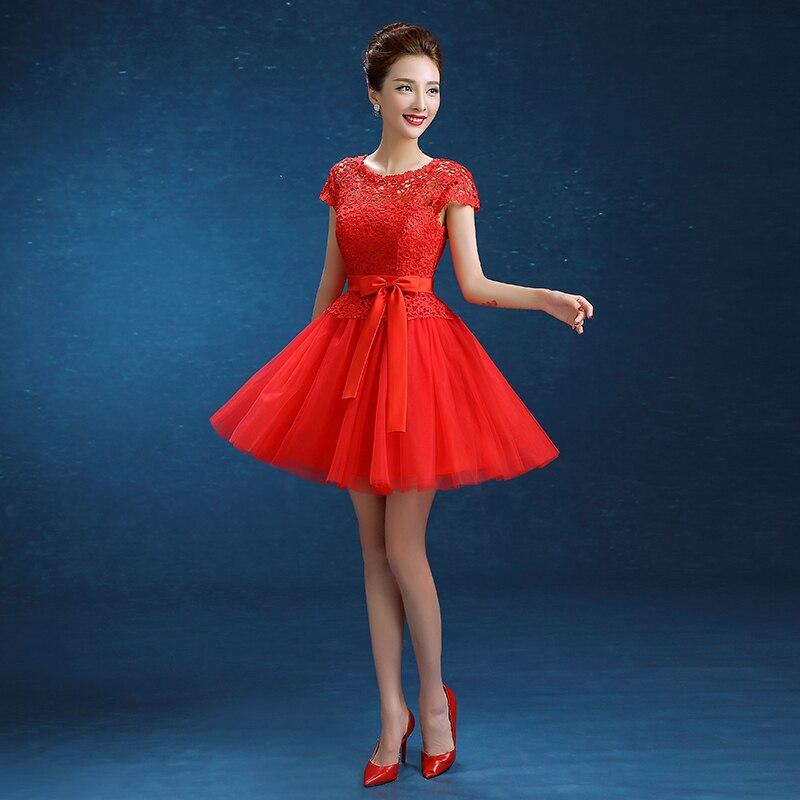 41c093a10231 € 50.53 |Los últimos vestidos cortos de dama de honor v back Cap mangas  vestido de novia señoras mujeres chicas bola roja fiesta graduación ...