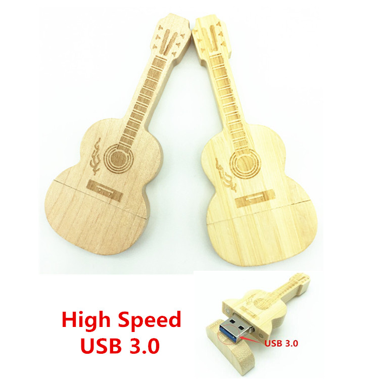 Hot Sale USB 3.0 Wooden Guitar Music Love Best Gift 8GB 16GB 32GB 64GB Flash Memory Stick Driver U Disk Pen Drive Gift