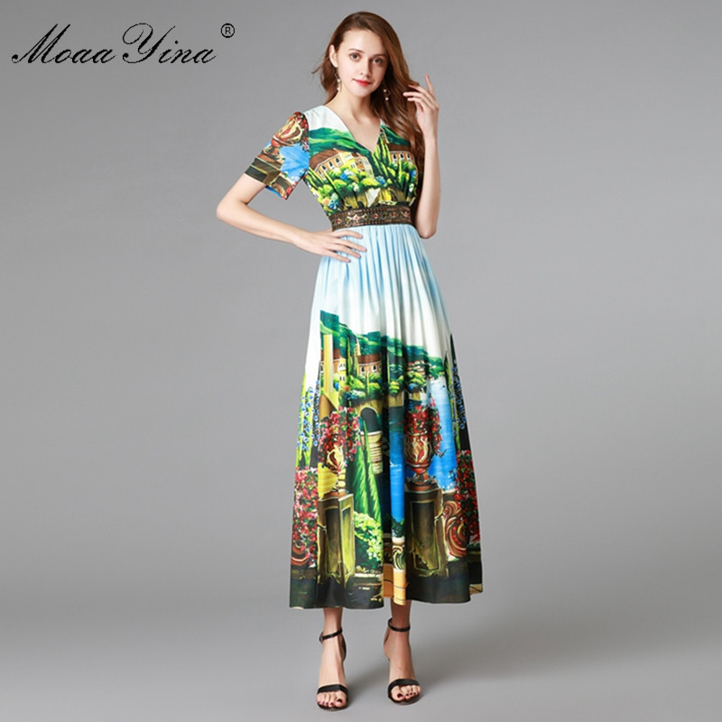MoaaYina Fashion Designer Runway Dress Summer Women s Short sleeve V neck Sicily landscape Print Slim